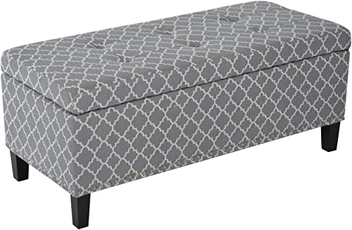 HOMCOM Large 42″ Tufted Linen Fabric Upholstery Storage Bench Ottoman