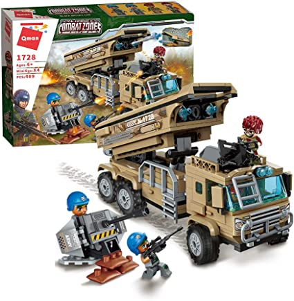 QMAN 409 Pcs Building Blocks Military Missile Vehicles Toy Army Bricks Building Sets for Boy Age 6-12 and up