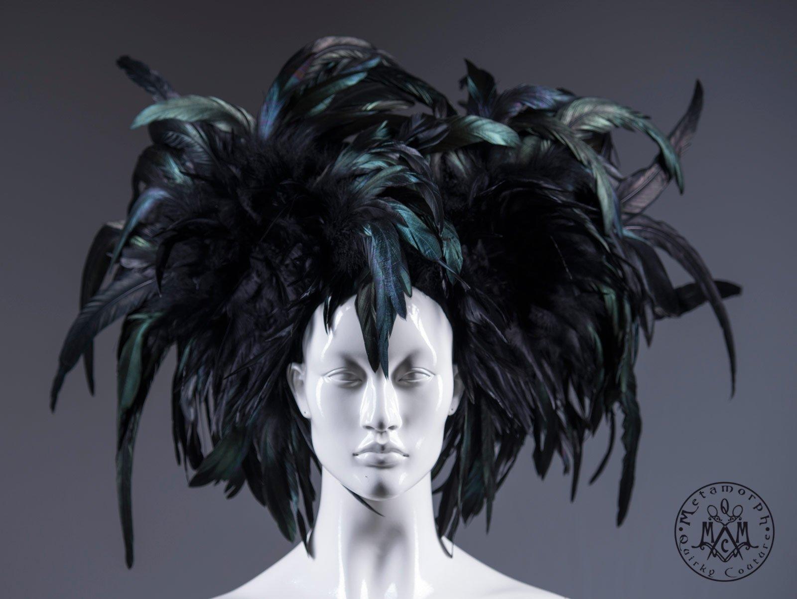 Black Mardi Gras headdress / Rooster feather headpiece / Dark fashion headdress / Burning man headpiece / Burlesque