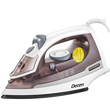 Iron DECEN, Steam Iron with Non-Stick Smooth Soleplate, Self-Cleaning Irons for Clothes with Variable Temperature and Steam Control, 3-Way Motion Smart Auto-Off Vertical Ironing, 1500W