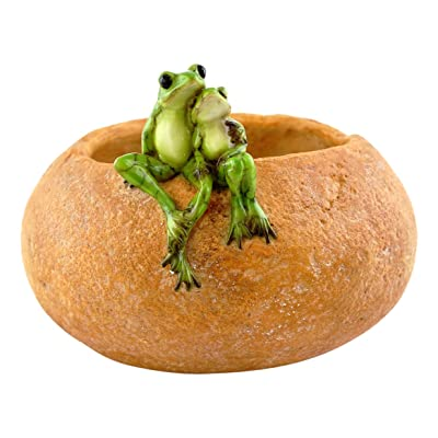 Top Collection Garden Frog Lovers On Large Functional Stone Flower Pot Planter Figurine : Garden & Outdoor