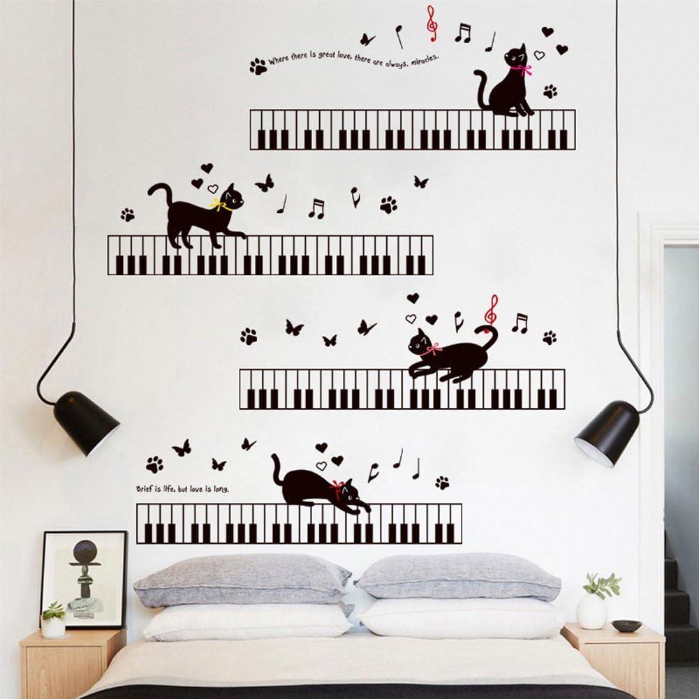 vinilo pared gato jugando con piano