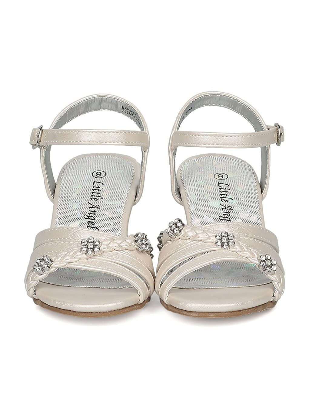 c383794cf Alrisco Girls Open Toe Rhinestone Flower Ankle Strap Kiddie Heel Sandal  HC28 Little Angel larger image