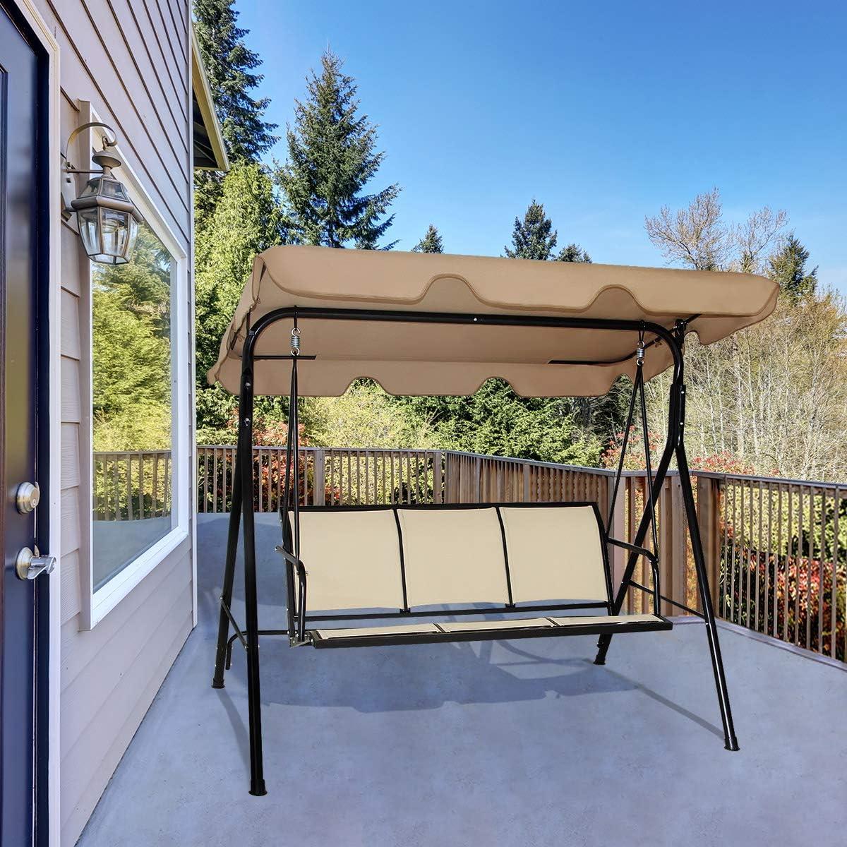 COSTWAY - Silla de jardín de 3 plazas, cubierta de acero con revestimiento de polvo, asientos acolchados para patio, hamaca de metal, 240 kg, marrón: Amazon.es: Hogar