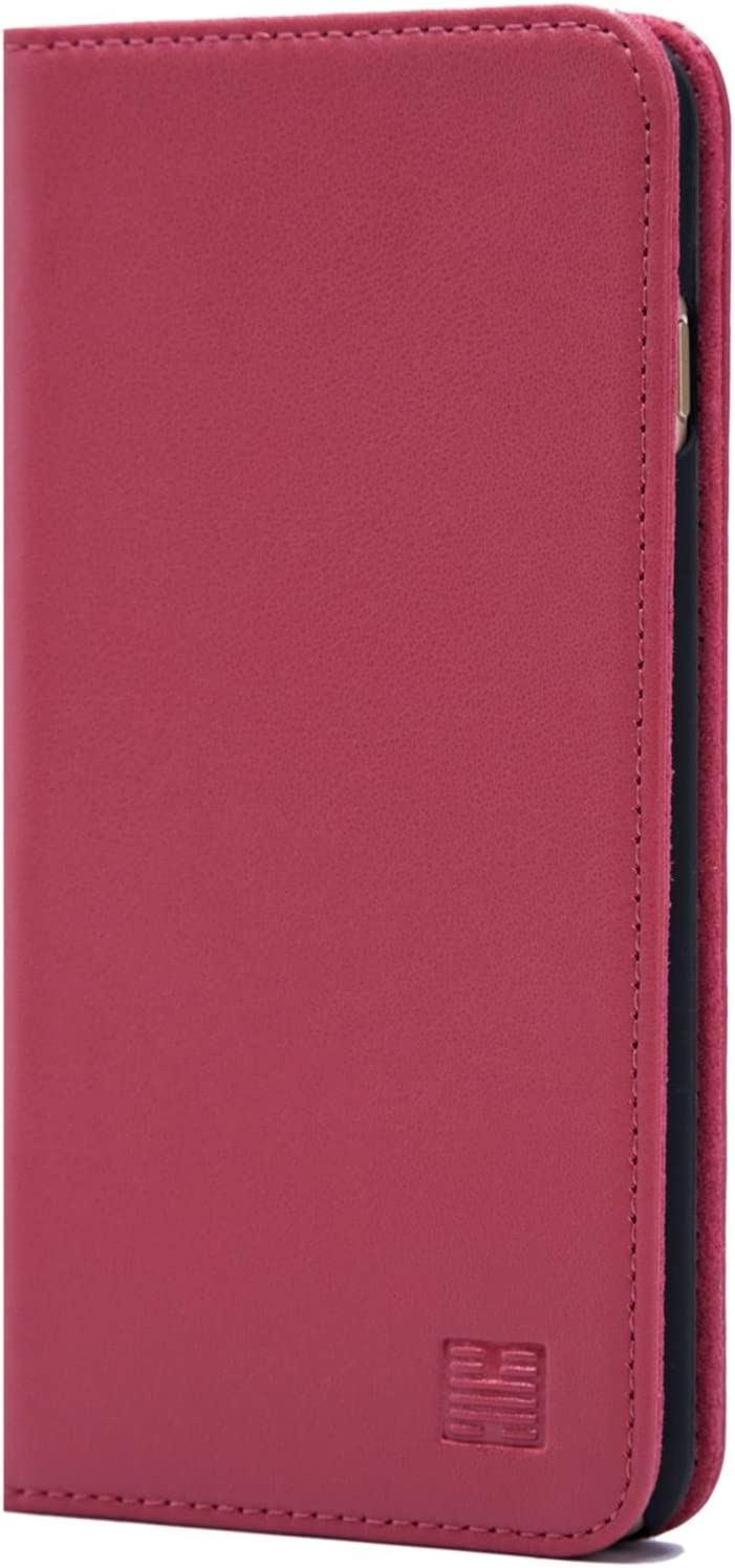 32nd Classic Series - Real Leather Book Wallet Case Cover for Apple iPhone 7, 8 & SE (2020), Real Leather Design with Card Slot, Magnetic Closure and Built in Stand - Rose Pink