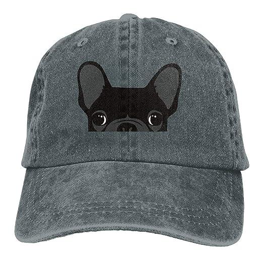 06efac2ef25 HONGYUDE Cute Black French Bulldog Adjustable Cotton Hat at Amazon ...
