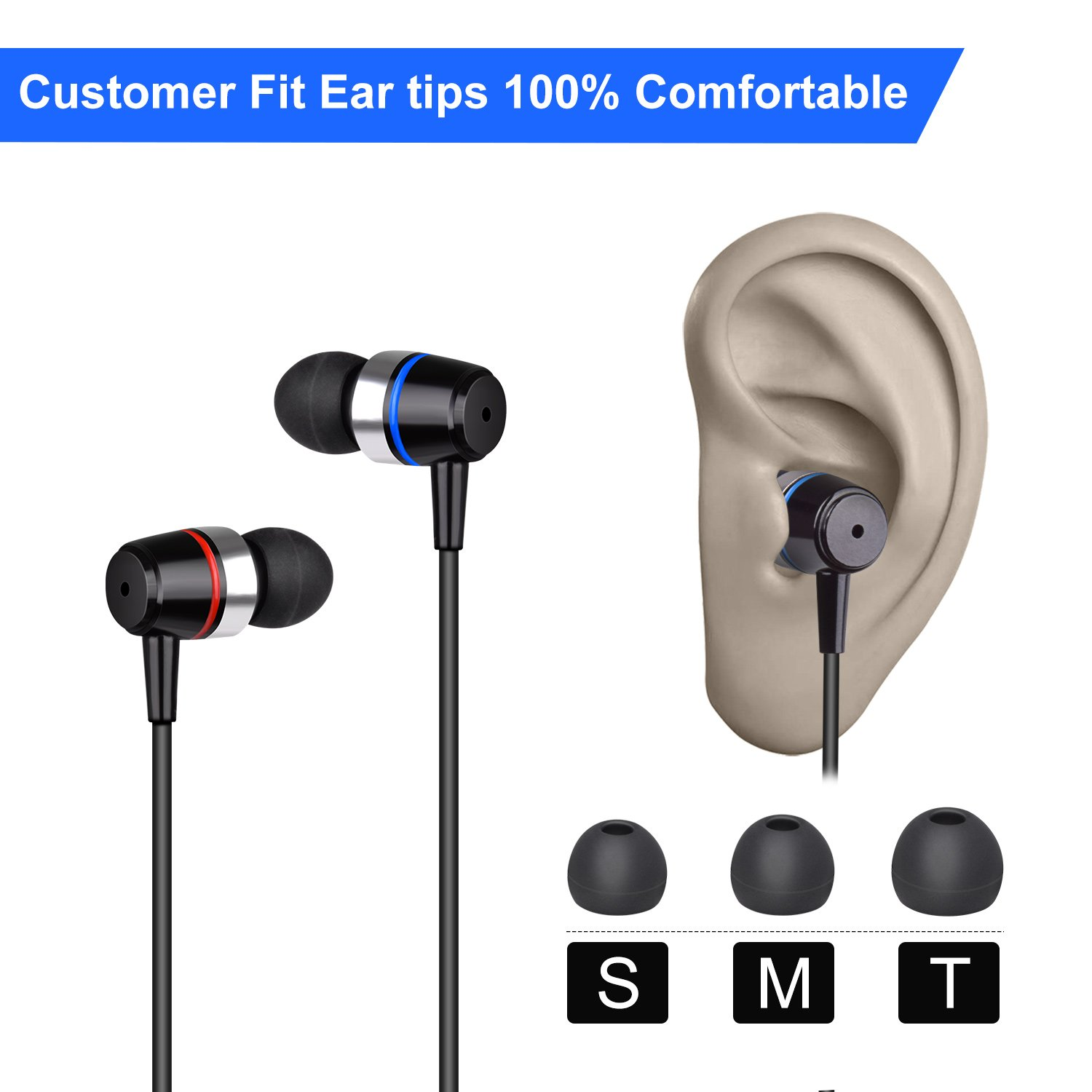 Earbuds Ear Buds Wired Earphones Headphones with Microphone Noise Cancelling Ear Phones Stereo in Ear Headphones Sports Earbuds with Mic and Volume Control Compatible iPhone Android iPad Laptop by TZCER (Image #6)