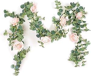 MorNon Artificial Eucalyptus Garland Artificial Rose Vine Fake Flower for Home Party Wedding Backdrop Wall Arch Table Decor, Pink Rose