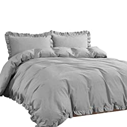 NTBAY 3 Pieces Duvet Cover, Classic Minimalist Chic Design (Grey, King)