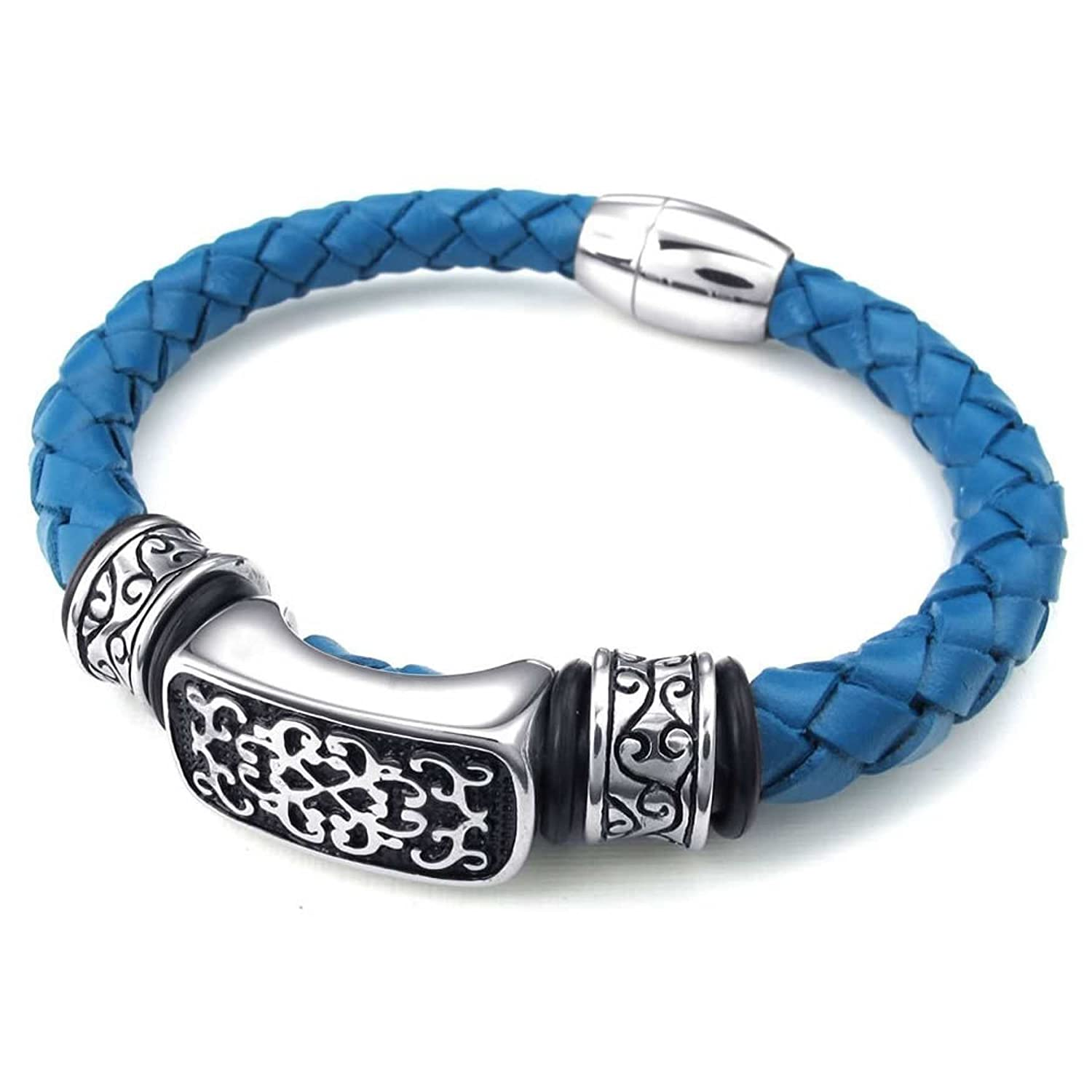 8.5 ANAZOZ Blue Silver Mens Stainless Steel Leather Cuff Bangle Bracelet Weave Magnetic Clasp 9 8