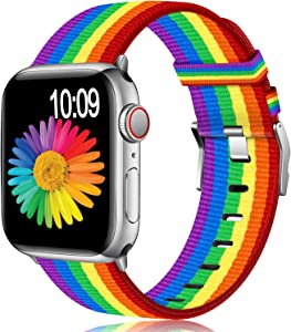 Muranne Compatible with Apple Watch Band 38mm 40mm, Classy Lightweight Washable Woven Canvas Strap for iWatch Series 5 4 3 2 1 for Women Ladies Girls, Rainbow