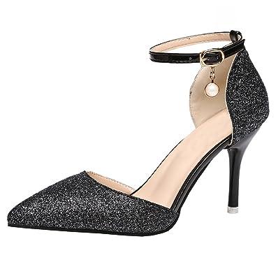 e22b98d5cbc1 Artfaerie Damen Glitzer High Heels Sandalen Elegant mit Schnalle und Spitze  Stiletto Riemchen Pumps Hochzeit Brautschuhe