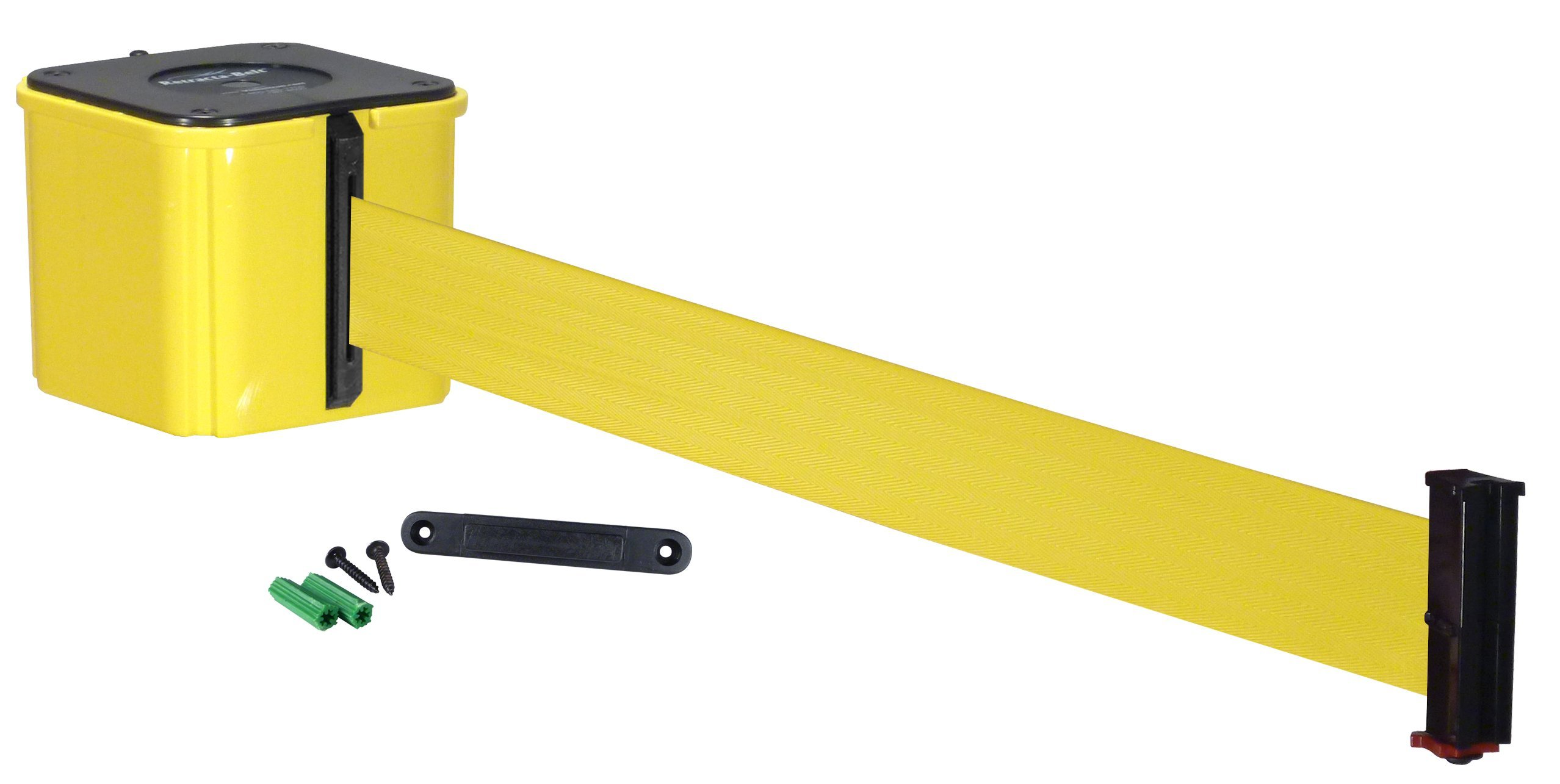 Visiontron WM412-auto-20YW-YW Economy Wall Mount 20' Automatic Retracting Unit w/Standard Fixed/Removable Wall Plate - Yellow with Yellow Belt, Standard Belt End