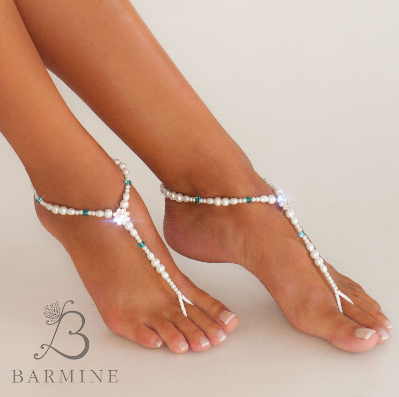 18fac3c4c2a Amazon.com  35% SALE Something blue Beaded barefoot sandals Bridal foot  jewelry Pearl and Rhinestone Beach wedding Barefoot Sandals Swarovski  Elements  ...