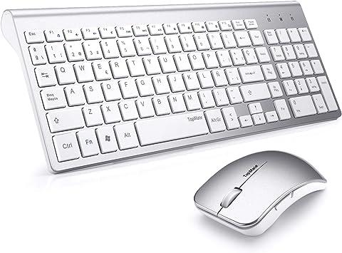 TopMate KM9001 Combo de Mouse y Teclado inalámbricos Mute portátiles ultradelgados, Mouse USB inalámbrico de Office (Negro, Blanco) (Blanco Plateado)