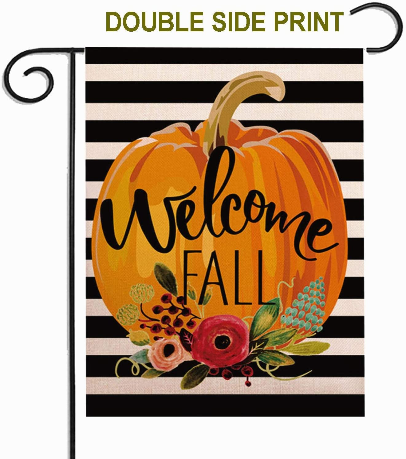 ZUEXT Welcome to Our Pumpkin Patch Fall Small Garden Flag Vertical Double Sided,Sewn Black and White Stripes Cotton Linen,Autumn Thanksgiving Harvest Farmhouse Outdoor Vintage Decor 12.5x18 Inch