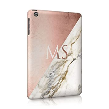 half off bf552 b34a4 Tirita Personalised iPad Mini 4 Marble Rose Gold PRINTED GLITTER, NO REAL  GLITTER Golden Geometric Collage Case Hard Cover Custom Initials Name Text  ...