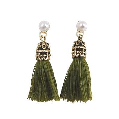 fe49d981e Amazon.com: CATCHICY Vintage Short Tassel Pearl Earrings - Pearl ...