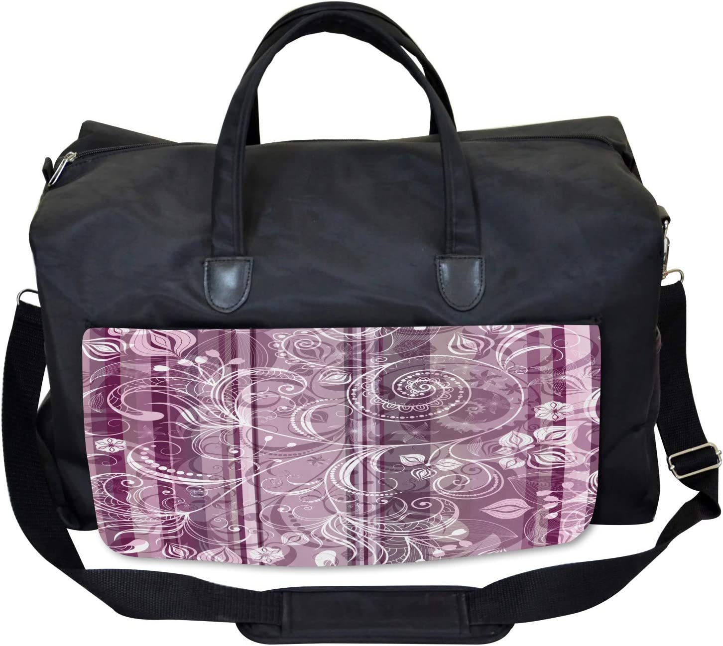 Ambesonne Lilac Gym Bag Large Weekender Carry-on Flowers Leaves Retro