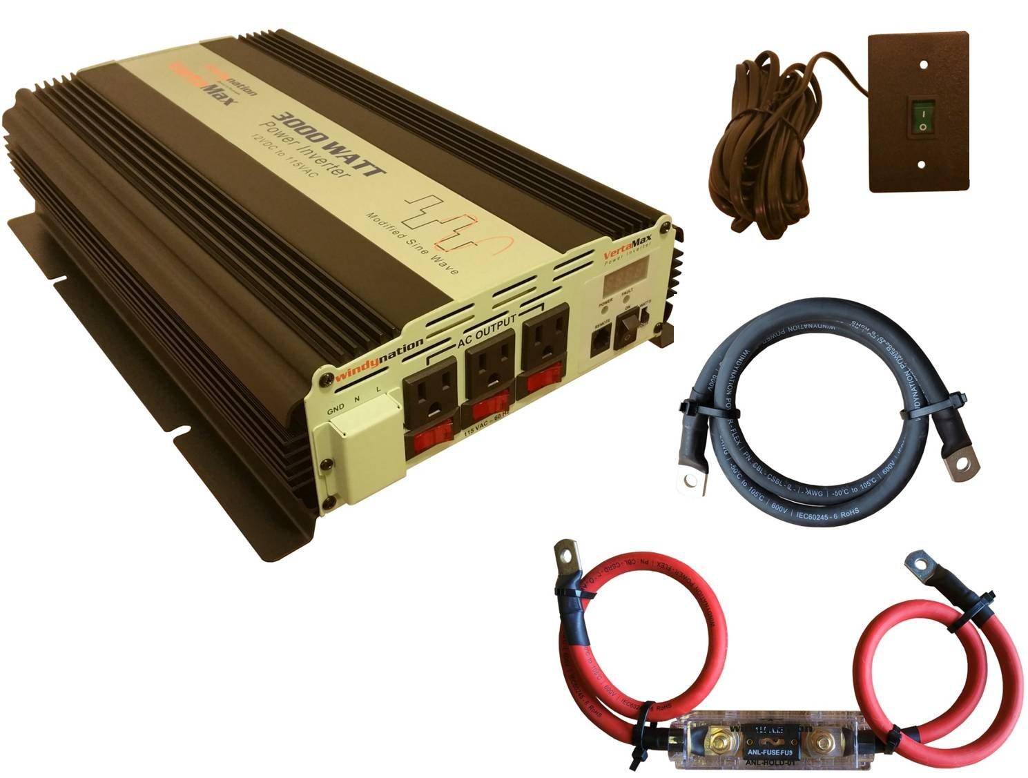 12V Power Inverter DC to AC Car VertaMax Modified 3000 Watt Solar WindyNation RV 6000W Surge Cables + Remote Control Switch + ANL Fuse Included Back Up Power