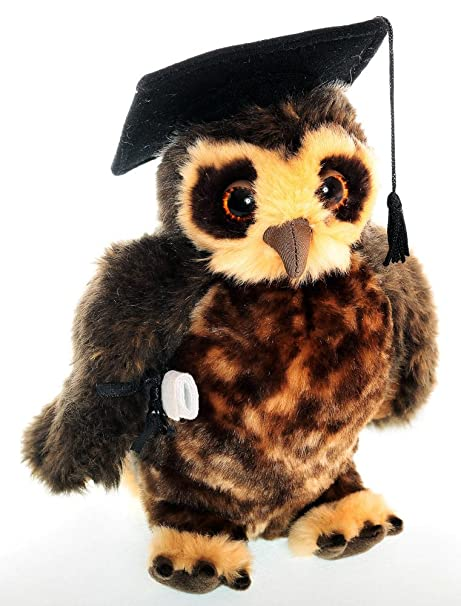 Plush owl with graduation hat and scroll 4c5e98c4ed46