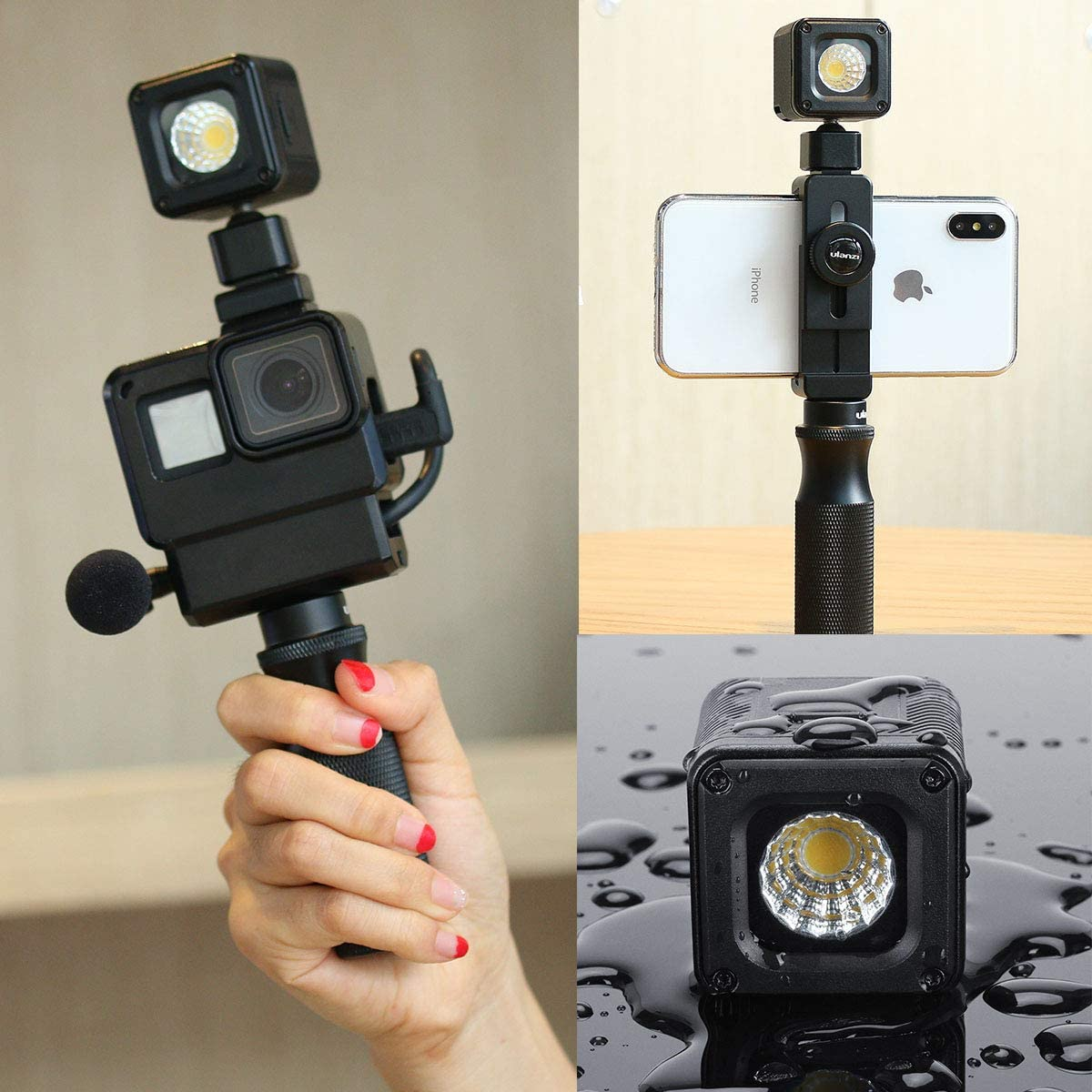Super Bright 10m Waterproof LED Video Light ULANZI L1 Pro Vlog Dimmable Fill Light on Camera with 20pcs Color Filters for Yuneec Drones DJI Osmo Pocket Osmo Action Gopro 7//6//5 Sony DSLR Camera