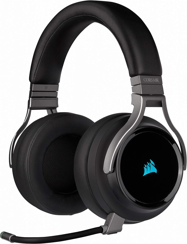 Corsair Virtuoso RGB Wireless SE Auriculares Alta Fidelidad Gaming (Sonido Envolvente 7.1, Micrófono Omnidireccional, para PC, Xbox One, PS4, Switch y Móviles) Over Ear, Negro