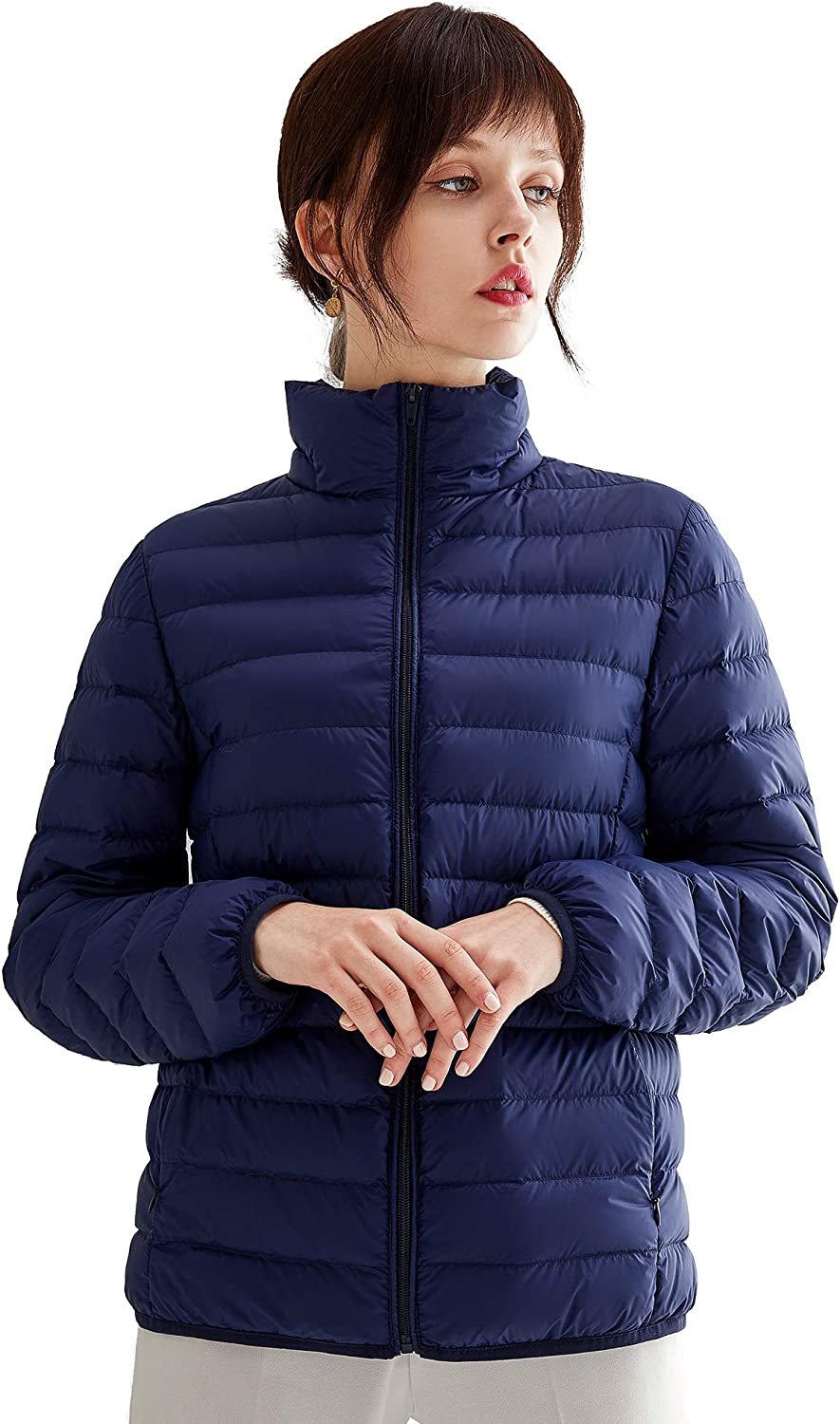 VUTOLEE Women Lightweight Down Jacket Packable Ultralight Outwear Puffer Down Coats Stand Collar Winter Warm Coat L01