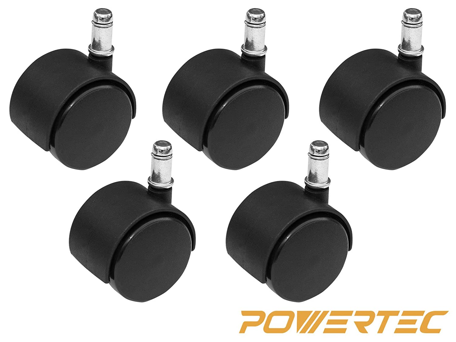 5-Pack POWERTEC 17100 Nylon Twin Wheel Chair Casters with 7//16-Inch x 7//8-Inch Grip Ring Stem Black