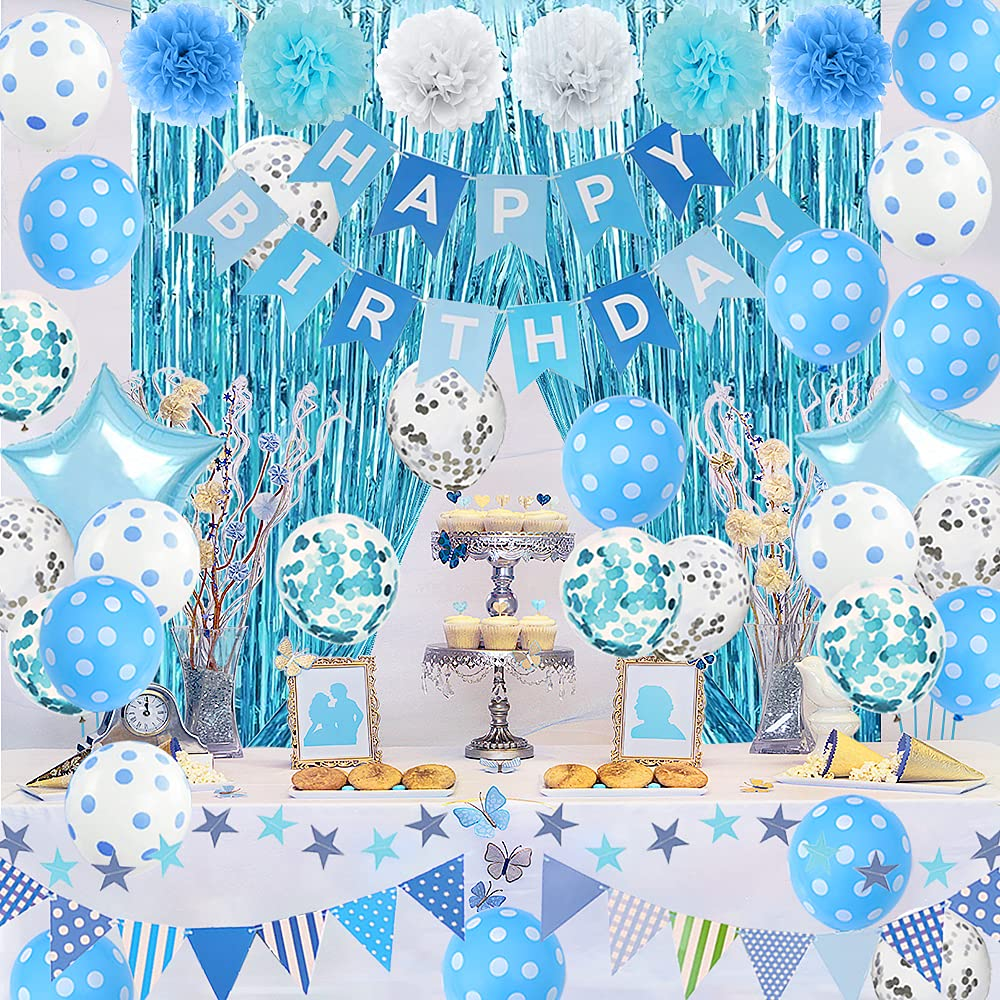 Birthday Decorations, Blue Birthday Party Decorations with Tissue Pom Pom flowers, Happy Birthday Banner, Confetti Balloons, Foil Fringe Curtain, Happy Birthday Party Supplies for Men Women Boys Girls - Light Blue and White