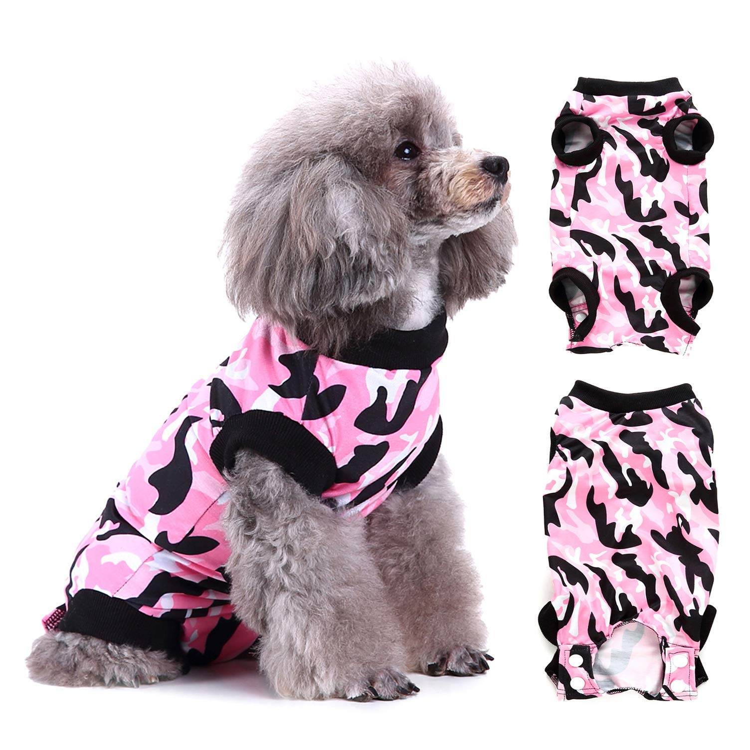 Ranphy Neoprene Recovery Suit for Dog Camouflage Pet Recovery Cone Alternative Waterproof Puppy Surgery Wearfor Abdominal Wounds Skin Diseases Anti-Lick Kitten Jumpsuit Pink Size L by Ranphy