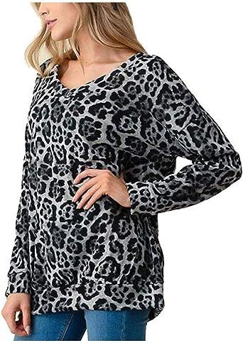 Blusas de Manga Larga para Mujer, Invierno Blusa Sexy Mujeres Moda Leopardo Largo Mangas Impresión Casual Camisa Top Mujer Abrigo Deportiva: Amazon.es: Ropa y accesorios