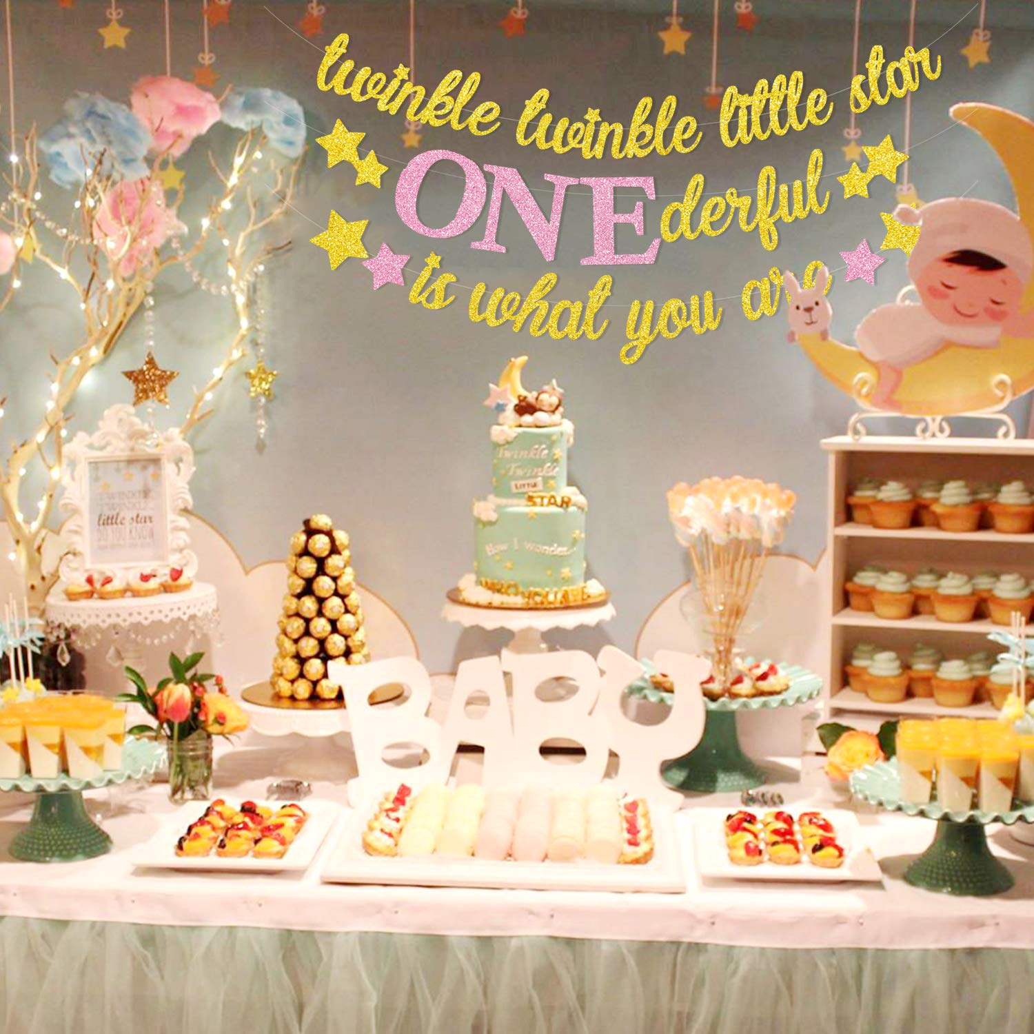 1st Birthday Party Themes.Yaaaaasss Twinkle Twinkle Little Star Banner Girl 1st Birthday Party Decor