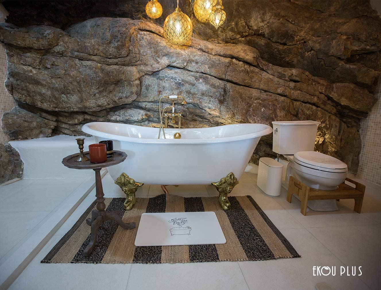 EKOU PLUS Bath Mat Diatomite Japanese Quality Fast Drying Bathroom Self-Refreshing Hard Shower Mats White, 23.6X15.3X0.35 Inch