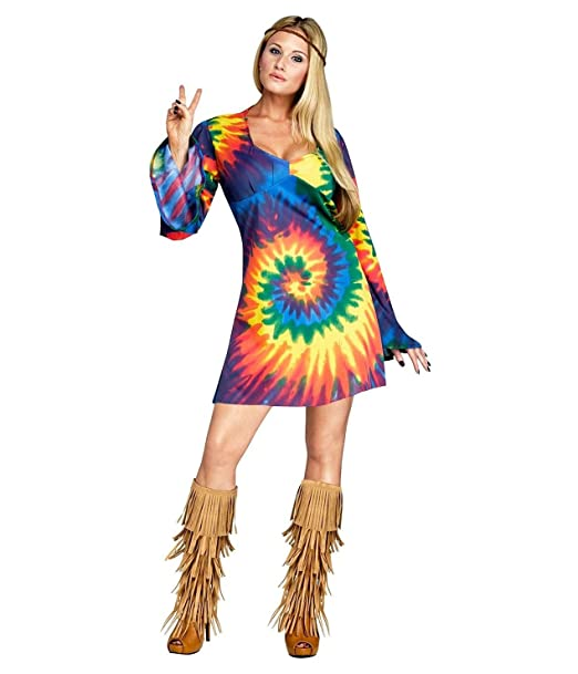 Hippie Dress | Long, Boho, Vintage, 70s Fun World Womens Groovy Gal Halloween Party Hippie Costume $20.96 AT vintagedancer.com