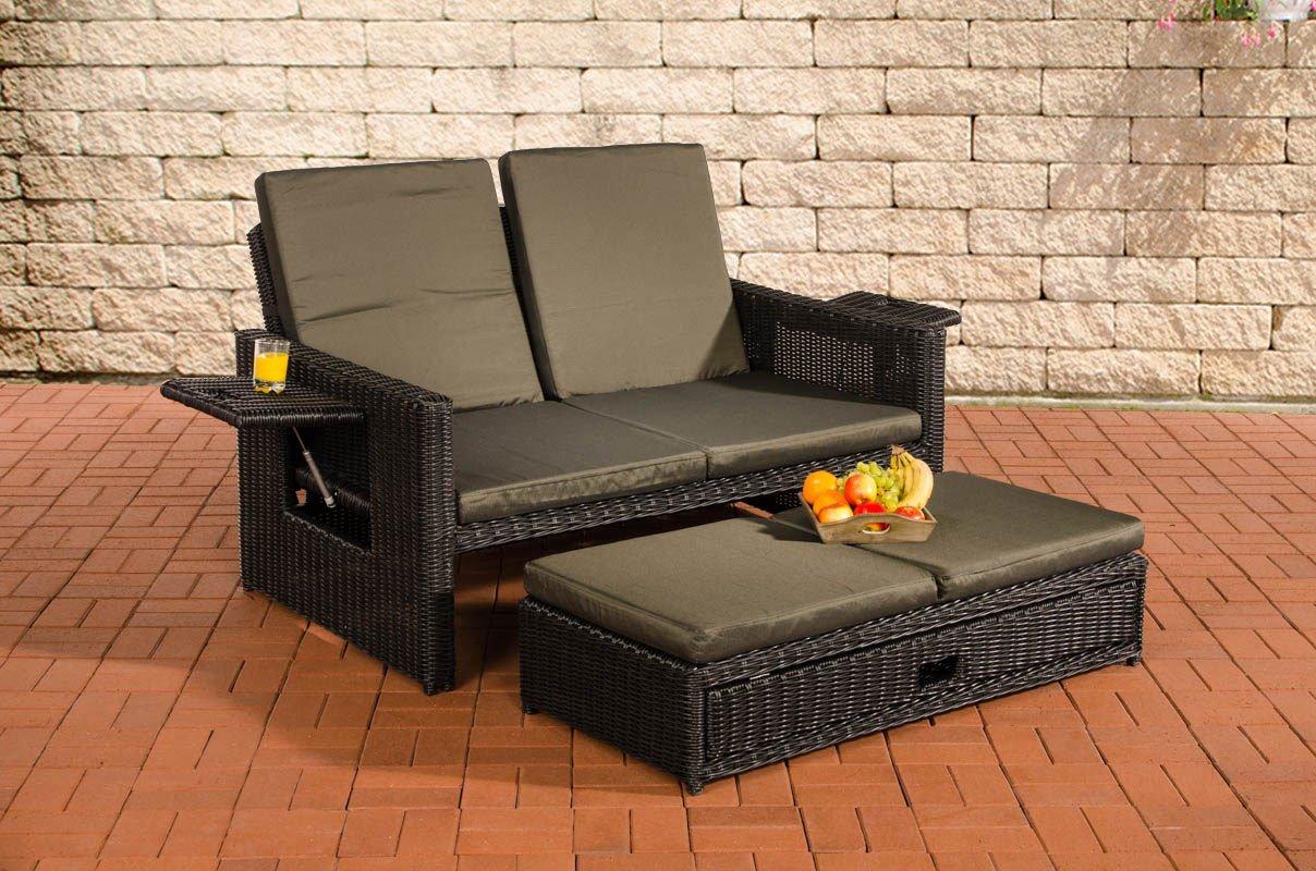 CLP flexibles Poly-Rattan 2er Lounge-Sofa ANCONA, 5 mm RUND Rattan ...