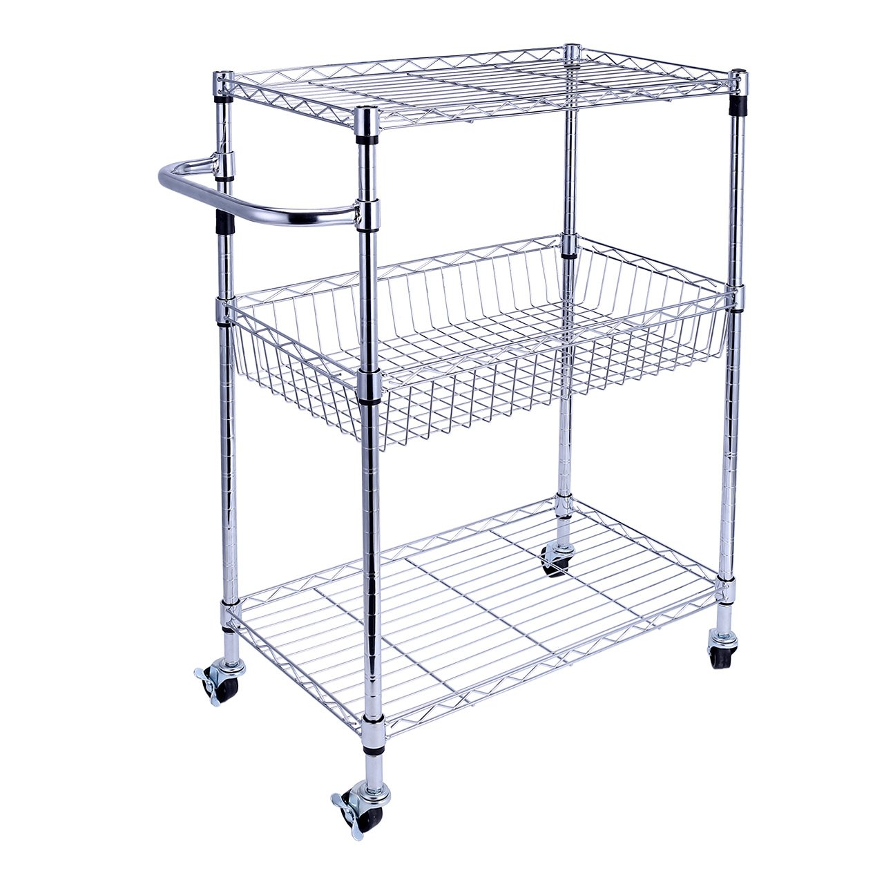 SortWise ® 3-Shelf Commercial Utility Wire Shelf Cart Storage Rack Basket Shelves Stand with Rolling wheels, Multi-Purpose for Kitchen Laundry Bathroom SaveOnMany