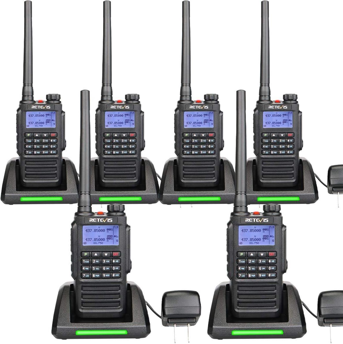 Retevis RT87 2 Way Radios Walkie Talkies Long Range Waterproof Dual Band Heavy Duty High Power Two Way Radio with LCD (6 Pack)