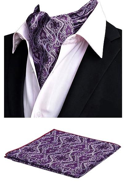 Amazon.com: mohslee hombre elegante morado boda Cravat ...