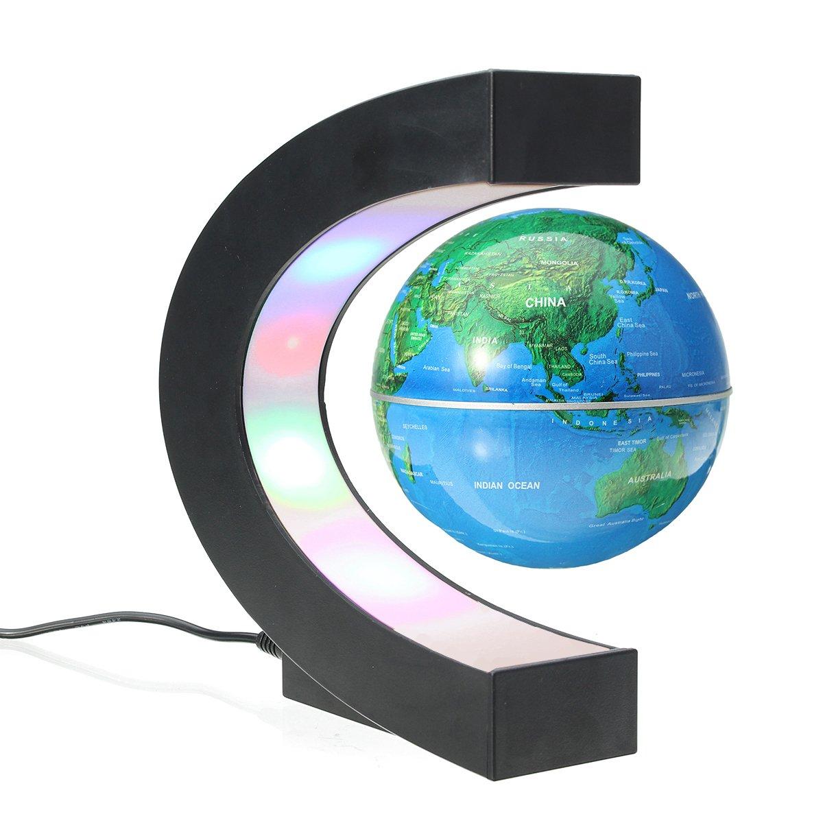 Créatif Globe Terrestre Lumineux Flottant Magnétique Lévitation Globe Lamp avec Lumières LED Sphère Démonstration de l'enseignement Décorations Maison et Bureau Cadeau de Noël d'Anniversaire Bleu MECO