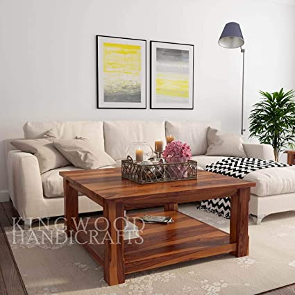 Kingwood Furniture Munich Modern Coffee Table Center Table For Living Room In Solid Wood Sheesham Standard Honey Amazon In Home Kitchen