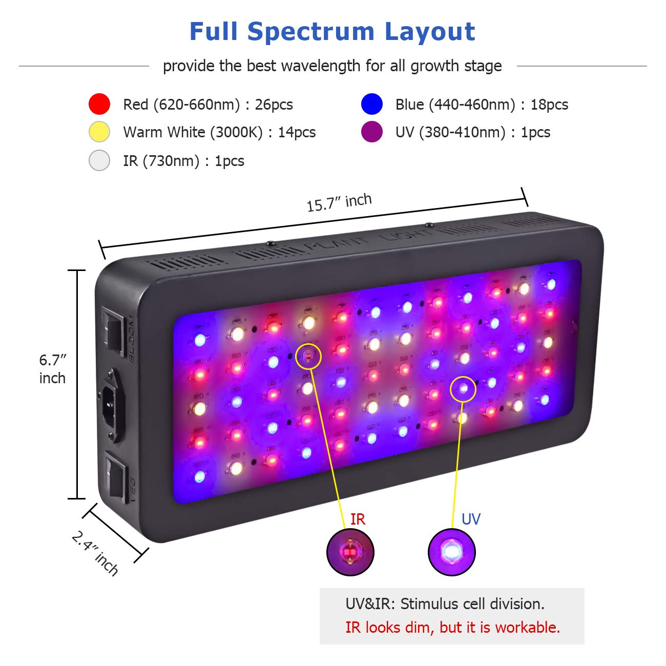 Golspark Indoor LED Grow Light, 600 Watt Full Spectrum Plant Light with Switch, IR&UV Growing Lamp Kits for Greenhouse Hydroponic Seedling Veg and Flower by Golspark (Image #2)