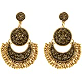 Young & Forever Tribal Muse Collection Jaipur Jewels Designer Fusion Moonshape Chandbali earings earings for girls stylish hanging womens earings by CrazeeMania