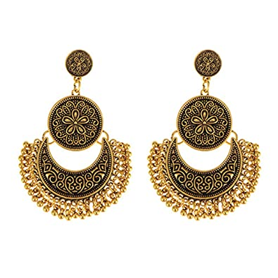 Buy Young Forever Tribal Muse Antique Gold Designer Moon Chandbali