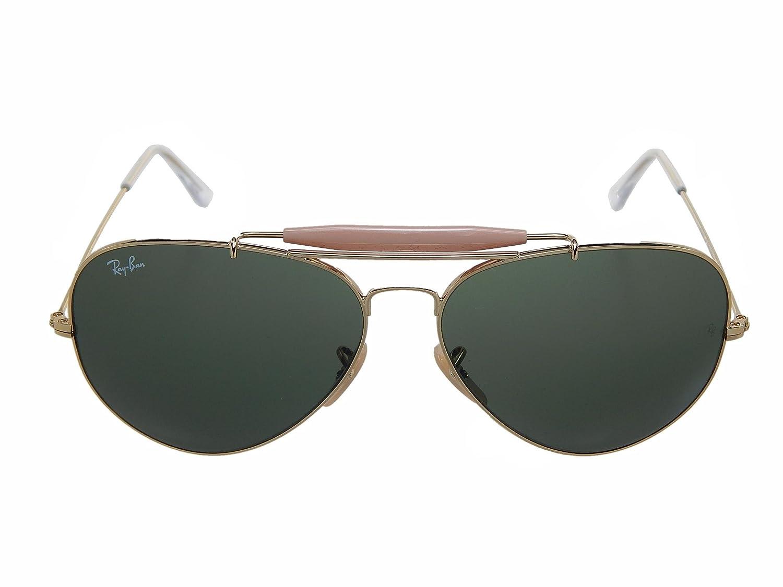 884e70d376 Ray Ban Outdoorsman II RB3029 L2112 Gold Green Classic 62mm Sunglasses   Amazon.de  Bekleidung