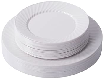 Zappy 50 Disposable Plastic Plates 25 White Dinner Plates (10.25u0026quot;) and 25 Salad  sc 1 st  Amazon.ca & Zappy 50 Disposable Plastic Plates 25 White Dinner Plates (10.25 ...