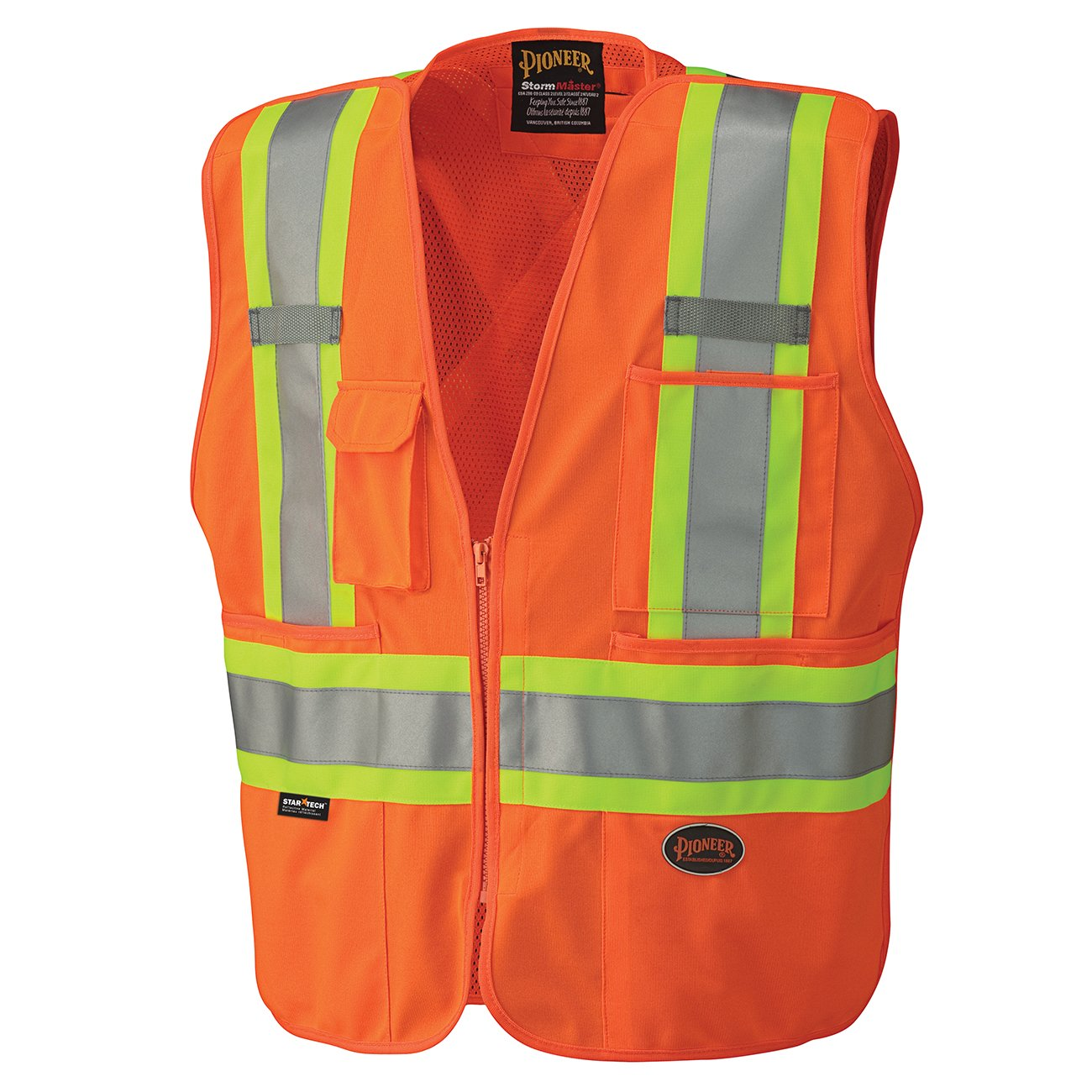 Pioneer V1021150-5XL Tear-Away and Front Zipper High Visibility Safety Vest, Mesh Back, Orange, 5XL