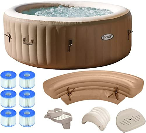 Intex Pure Spa 4-Person Inflatable Portable Ultimate Bundle Package