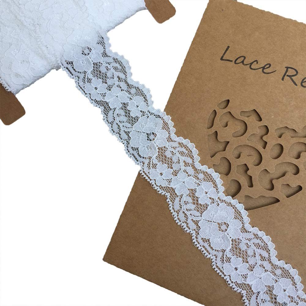 3601 White Lace Realm 1.5 inch Wide White Stretch Floral Pattern Lace Ribbon Trim for Sewing Gift Package Wrapping Floral Designing /& Crafts-10 Yards