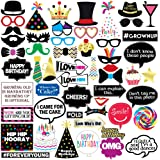 Sterling James Co. Funny Birthday Photo Booth Props - 47 Pieces - 21st - 30th - 40th - 50th - 60th - 70th - 80th - 90th…